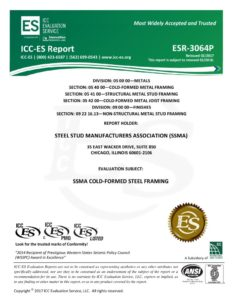 thumbnail of ESR-3064P_-_Steel_Stud_Manufacturers_Association_SSMA1