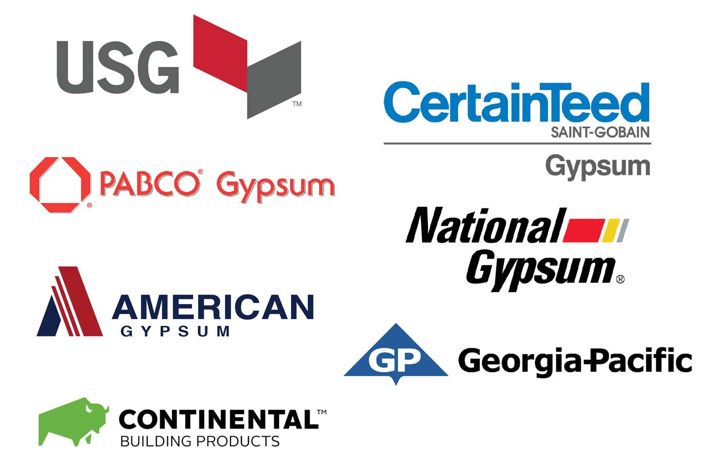 USG, PABCO Gypsum, American Gypsum, Continental Building Products, CertainTeed Gypsum, National Gypsum, Georgia-Pacific
